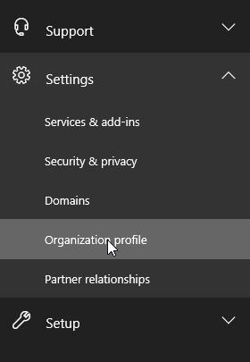 Launching the Office365 organizational profile