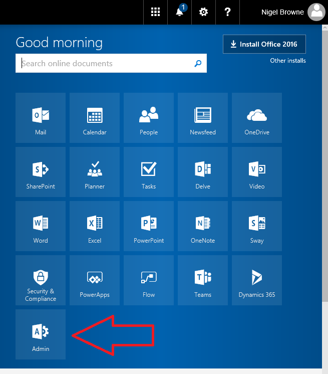 The Office Admin Center tile in the app launcher