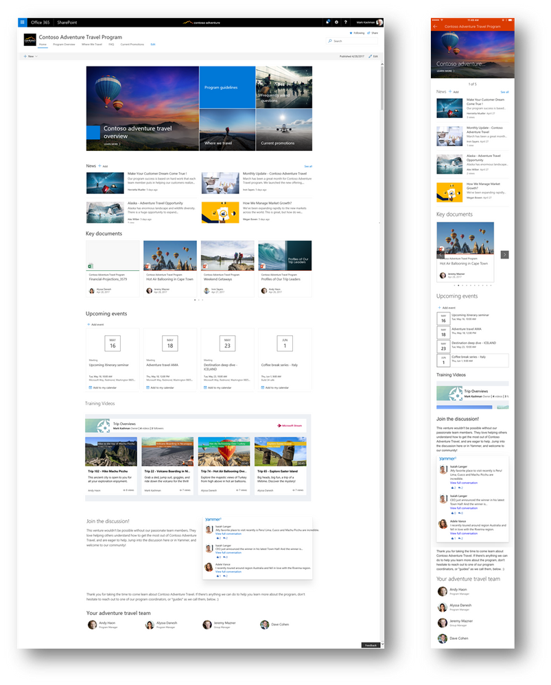 SharePoint modern communication site layouts