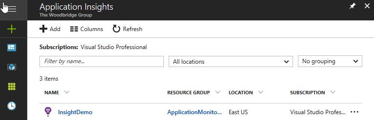 Application Insights item list