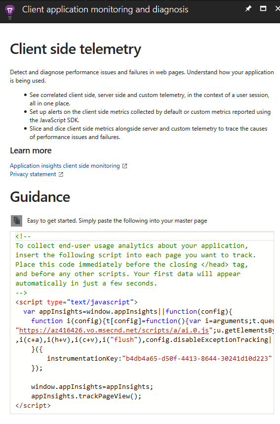 Copying the Application Insights telemetry code
