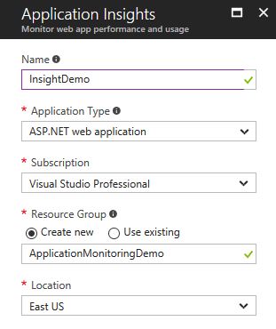 Configure the Application Insights resource